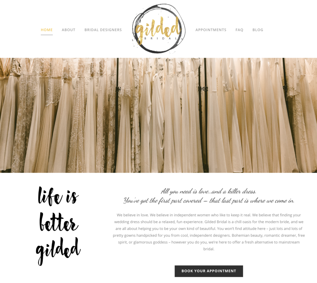 Gilded Bridal website