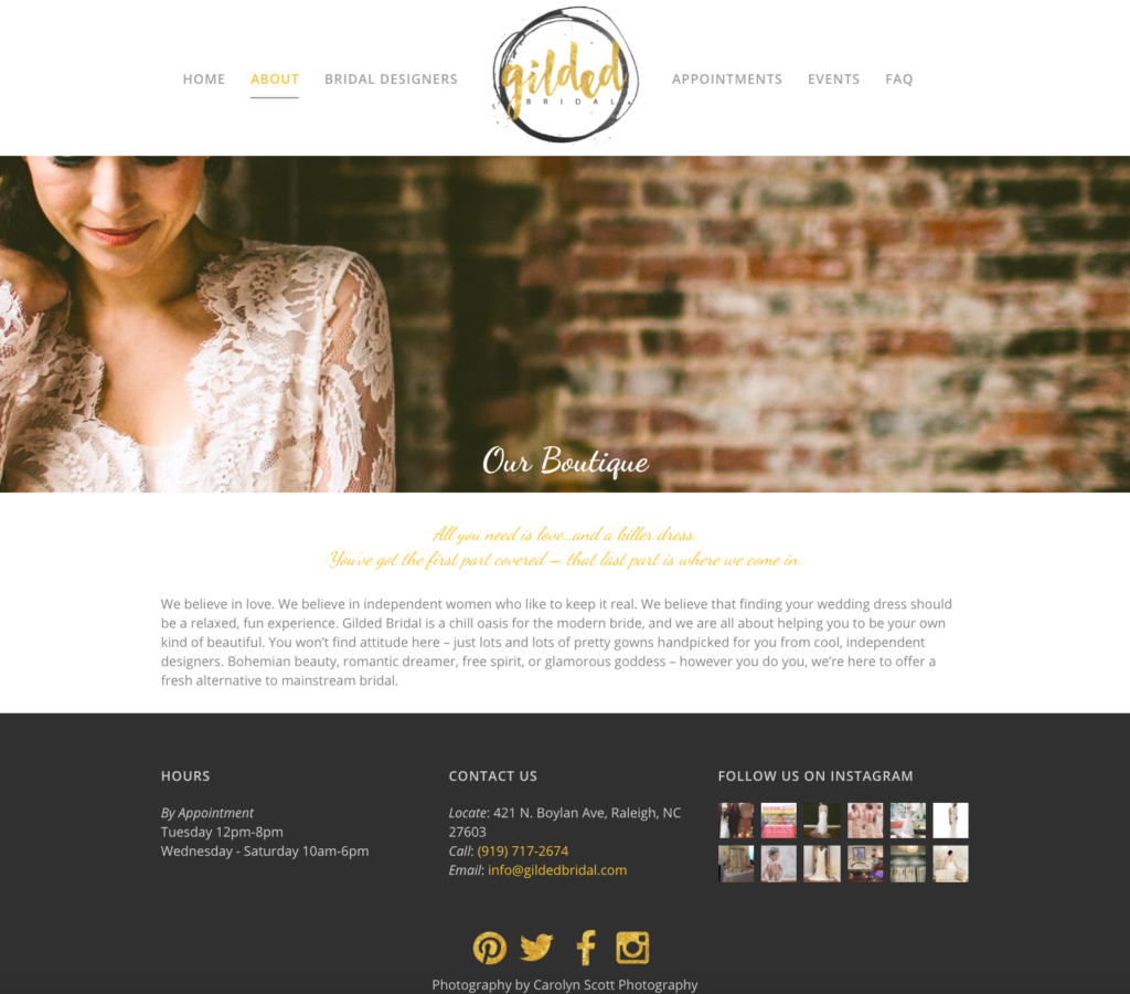 Gilded Bridal About Page