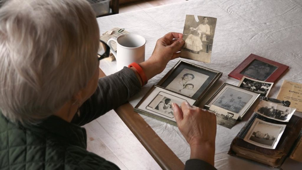 Rosemary looking at old photos
