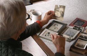 Rosemary looking at old photos